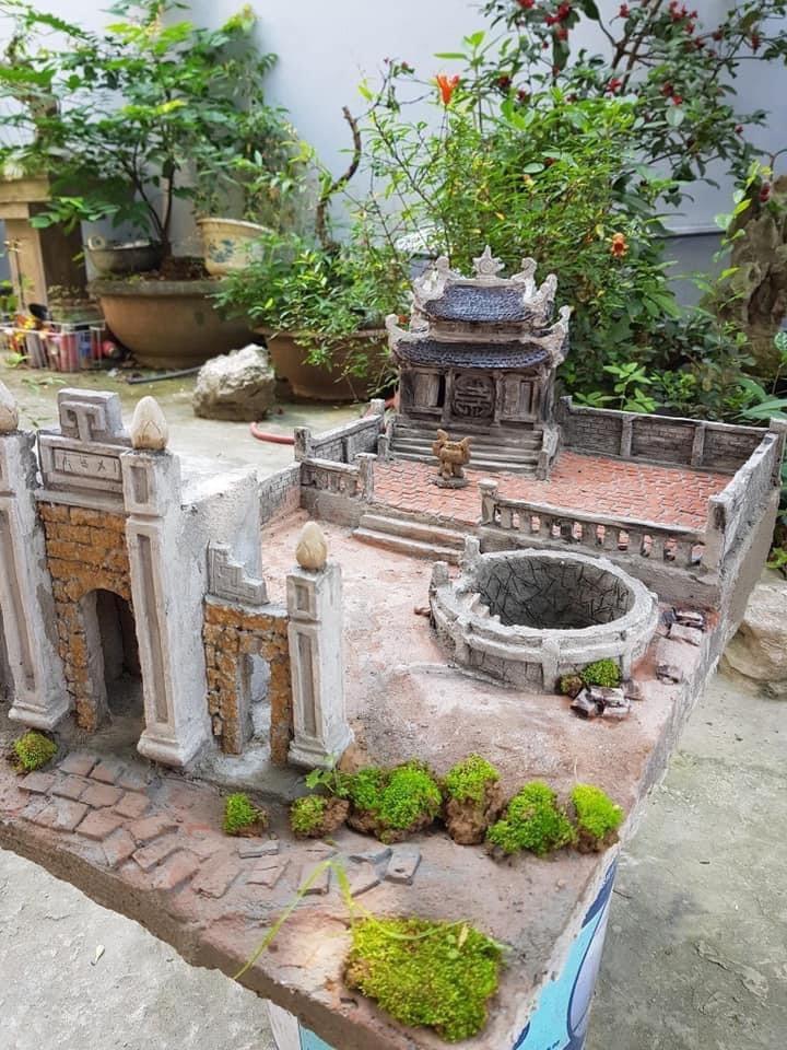 Tiểu Cảnh Kiến Trúc Cổ Giếng Nước Sân Đình