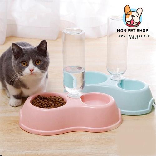 Bát đôi đựng thức ăn tự động cho chó mèo