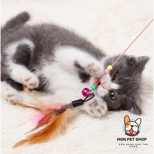 Đồ Chơi Cần Câu Mèo Bằng Thép Gắn Lông Vũ