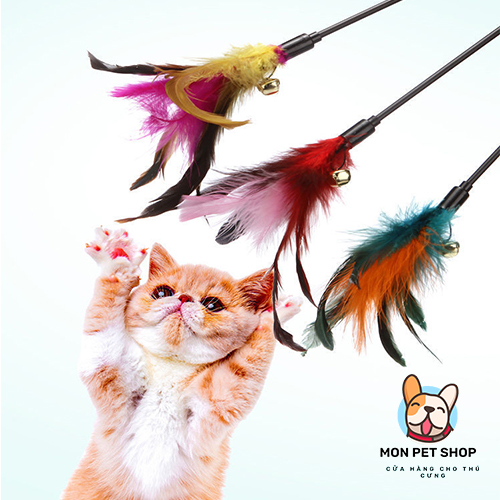 Cần Câu Gắn Lông Vũ Đồ Chơi Cho Mèo Cưng